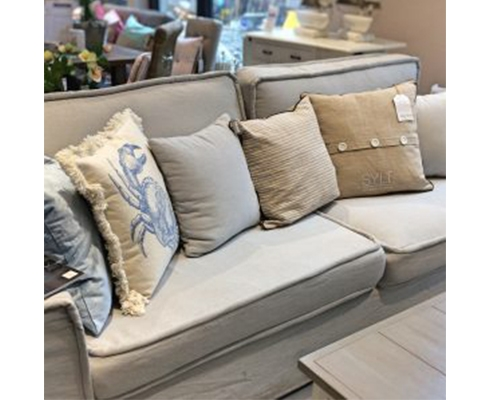 Rivièra Maison - Metropolis Sofa 3,5 Seater, Washed Cotton, Ash Grey