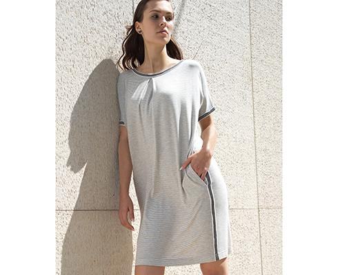BRIGITTE BÜGE COLLECTION - Sommerlich luftiges Basic Kleid aus Ringel-Jersey