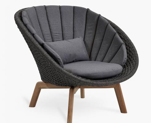 Cane-line - Peacock Lounge Chair aus Rope-Faser inkl. Polster