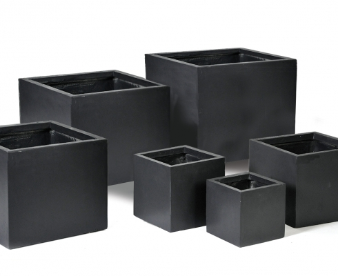 blumentopf w rfel anthrazit l 40cm x b 40cm x h 40cm mega ceramics stilpunkte. Black Bedroom Furniture Sets. Home Design Ideas
