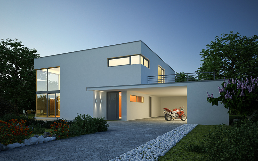 Stilpunkte-Blog: Thema Einbruchschutz, modernes Wohnhaus mit Motorrad, www.stilpunkte.de